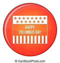 Happy Columbus day icon, flat style