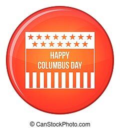 Happy Columbus day icon, flat style