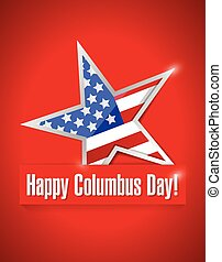 happy columbus day illustration design over a red background
