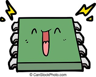 happy computer chip cartoon