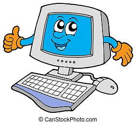 Happy computer on white background - isolated illustration,