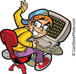 Computer Nerd - Happy Computer Nerd at his Computer
