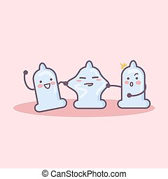 Happy condom cartoon
