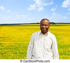 Happy confident black man