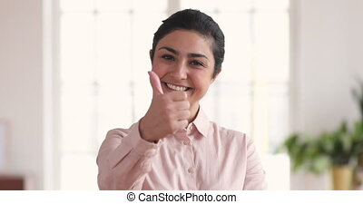 Happy confident indian businesswoman showing thumbs up hand ...