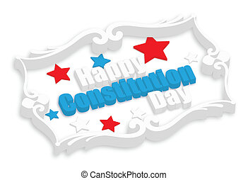 Happy Constitution Day 3d Vector