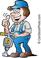 Happy Construction Worker - Hand-drawn Vector illustration...