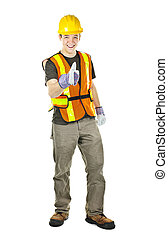 Happy construction worker showing thumbs up