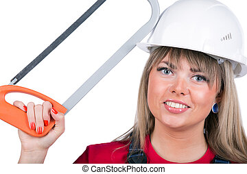 Happy construction worker - Happy smiling female worker with...