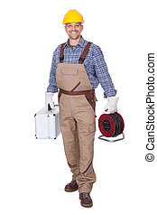 Happy Construction Worker Holding Toolbox And Cable On White...