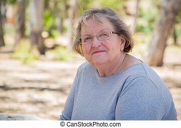 Happy Content Senior Woman Portrait