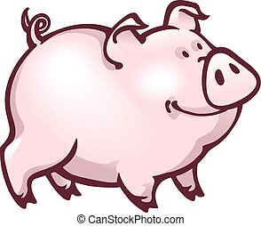 Happy contented look pink piglet - Illustration of a happy...