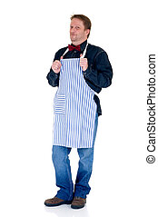 Happy cook on white background, reflective surface