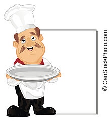 happy cook with dish
