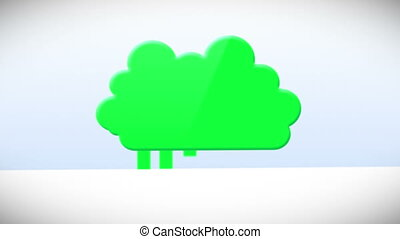 Animation with a cloud of happy corporate business life
