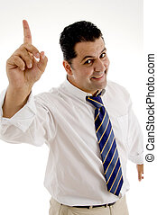corporate man pointing upwards - happy corporate man...