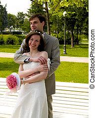 Happy couple 4 - Happy couple near the branch