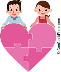 Happy couple and Heart of puzzle - Vector illustration.