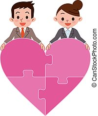 Happy couple and Heart of puzzle