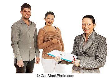 Happy couple and real estate agent - Real estate agent woman...