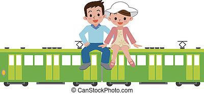 Happy couple and train