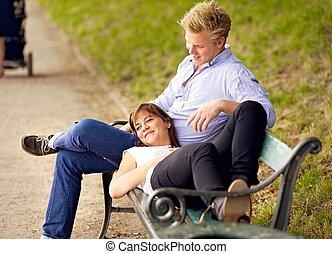 Happy Couple Bonding in a Park