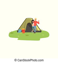 Happy couple camping in nature with fire in front of the tent, traveling and relaxing concept, summer vacations vector Illustration on a white background