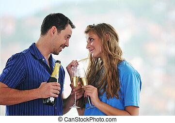 happy couple celebrate