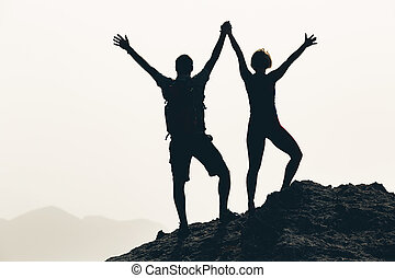 Happy couple celebrate, reaching life goal and success