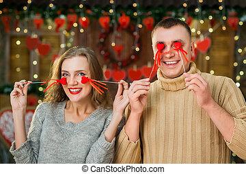 happy couple celebrate valentine's day
