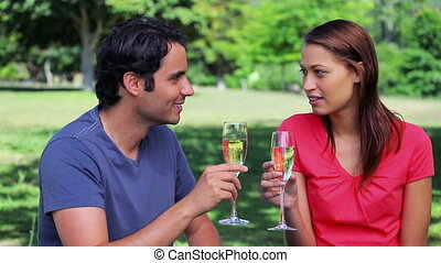 Happy couple clinking their glasses of white wine in a...