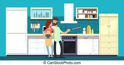 Happy couple cooking in kitchen vector illustration