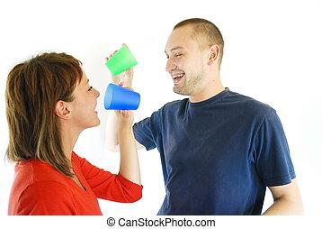 happy couple drink