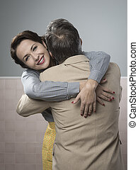Happy couple embracing - Happy vintage couple 1950s style ...