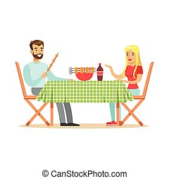 Happy couple enjoying barbeque, cheerful man and woman characters at a picnic vector Illustration