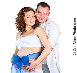 Happy Couple Expecting Baby Boy Isolated on White