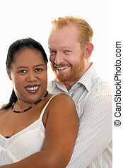 Happy Couple - Happy diversity couple smiling and looking...