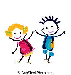 happy couple - happy girl and boy