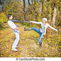 Happy couple have a fun