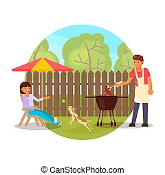 Happy couple having bbq party in backyard, flat vector illustration. Summer outdoor picnic, barbecue.