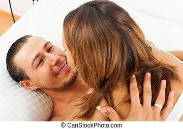 Happy couple having sex