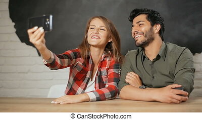 Happy Couple Having Videochat