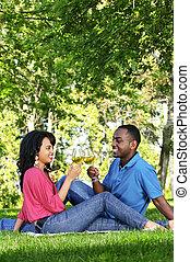 Happy couple having wine in park - Young romantic couple...