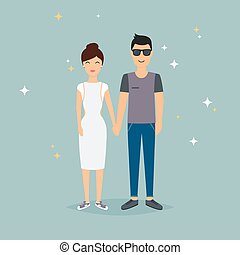 Happy couple holding hands. Cartoon man and woman in love.  Romantic communication of people in love. Flat vector design.