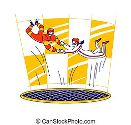 Happy Couple Holding Hands Flying in Wind Turbine. Male Female Characters Extremal Sport Experience and Recreation Spare Time. Skydiving Hobby, Free Fall Aerobatic. Linear People Vector Illustration