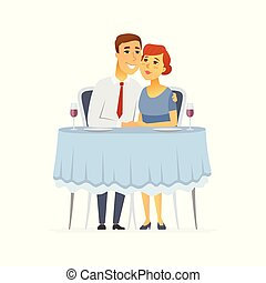 Happy couple in a restaurant - cartoon people character isolated illustration