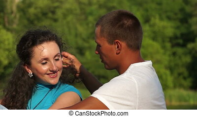 Happy couple in love outdoor
