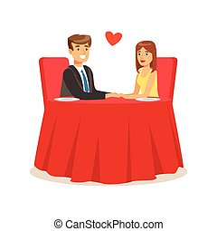 Happy couple in love sitting in a cafe, romantic date colorful characters vector Illustration
