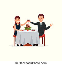 Happy couple in love sitting in the cafe and drinking wine vector Illustration on a white background