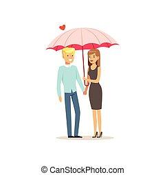 Couple In Love Under One Big Umbrella Rainy Weather Concept Cartoon